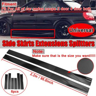 6PCS Carbon Look/Black 2m/ 2.2m Universal Side Skirt Extensions Car Side Skirts Winglet Splitters Lip For BMW For Benz For Honda