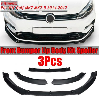 3pc Car Front Bumper Splitter Lip Spoiler Diffuser Guard Cover Trim For Volkswagen For VW For Golf MK7 MK7.5 2014 2015 2016 2017