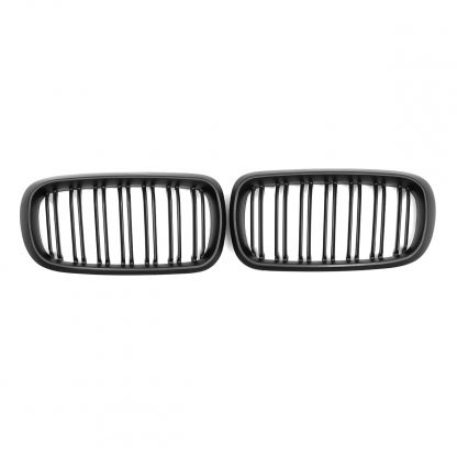 1 Pair Car Glossy/Matte Black Front Bumper Double 2 Slat Kidney Grilles For BMW F15 F16 X5 X6 F85 F86 X5M X6M 2014-2017 Grilles