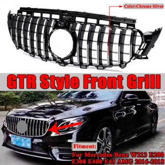 W213 Grill GT R / Diamond Car Grill Racing Grills For Mercedes For Benz W213 E200 E300 E400 E43 For AMG 2016-2019 No Emblem